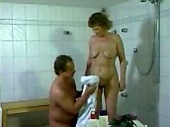 German mother getting fucked in the bathroom