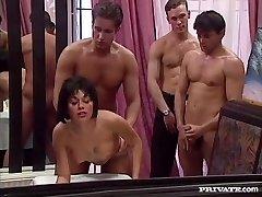 Rita Cardinale, Gang-fuck and Bukkake in the Restaurant
