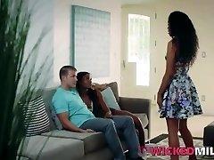 Naughty Ebony Stepmom Enjoys Bisexual Threesome With Daughter & BF