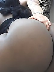 Huge ebony fatties make a meal out of his hard white cock