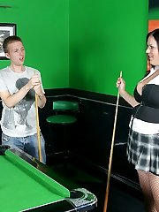 Married pool coach ends up eating out a horny BBW brunette on the table