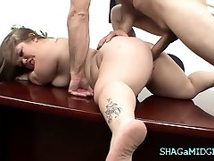 Office Fuck With Handsome Midget Babe