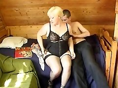 Russian boy nailing a plumper mature