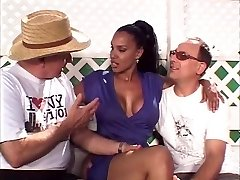 Warm married black beauty gets her amazing tits deepthroated by two white studs