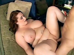 Chubby woman with good-sized boob gets drilled