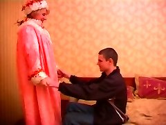 Mature plump russian lady in stockings & a youthfull boy
