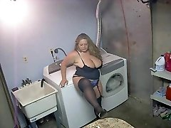 Hot Plumper in High-heeled Shoes and Lingerie Smoking Solo
