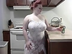 Wild Ginger-haired BBW striping on Webcam