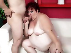 Old plumper Margaret rocking her massive hips and hips while a prick plows her cooter