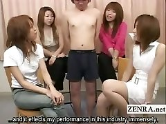 Subtitled Japanese CFNM tiny man-meat check-up party