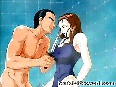 Showering anime woman gets owned