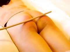 Chinese amateur caning with gimp Niu