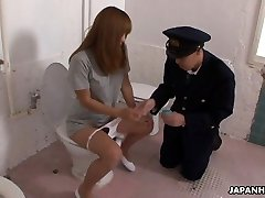 Bizarre Asian police officer getting face sat