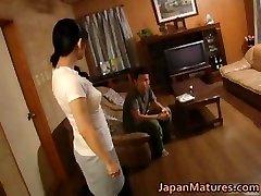 Horny asian mature babes sucking part4
