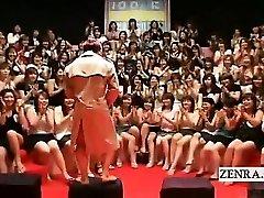 Subtitled CFNM Japanese giant handjob blowjob event