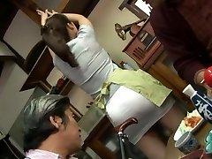 Mature fucking threeway with Mirei Kayama in a mini micro-skirt