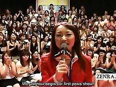 Subtitled CFNM Japanese massive hand job blowjob event