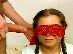 Blindfolded Tart Slurps A Stiff Wang