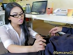 Asian pornstar penetrated in the office