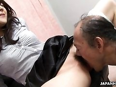 Old man is eating that wet hairy nubile pussy up