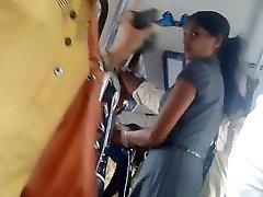 Sri lankan Super-cute office girl butt in bus