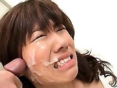 Asian school oral job with slutty red-haired taking messy facial