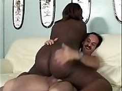 Nice cute overweight black lady gets white dick and sucks it for a bunch of mayo