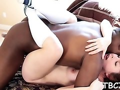 Teen bitch bounces on xxl ebony cock groaning with joy
