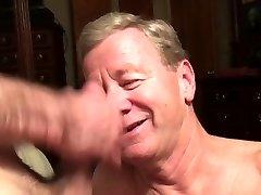 Senior Faggot Cocksucker Gets Cum Facial and Eats Cum