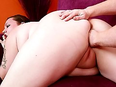 Large wild chick Menoly gives a stud a wet blowjob and gets her pussy fisted and cock stuffed