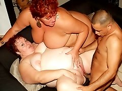 Hot mature BBW Louise and Mindy show off their huge fat breasts to attract a handsome stud