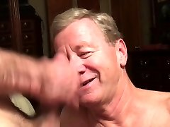 Old Faggot Dicksucker Gets Spunk Facial and Eats Cum