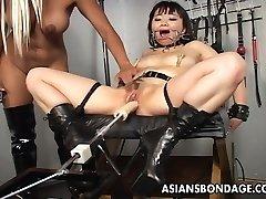 Gorgeous blonde tramp dominates the slut with a fuck machin