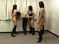 Hot asian girls beat up weak dude