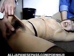 Asian AV Model has hairy crack roughly banged by two dudes
