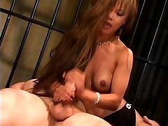 Gorgeous lean asian slut in high high-heeled shoes rides a giant dick and gets jizzed on