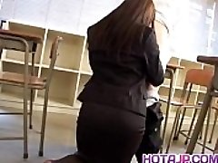 Mei Sawai Asian big-chested in office suit gives super-hot blowjob at school