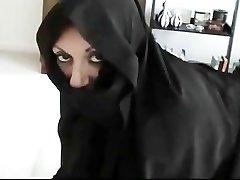 Iranian Muslim Burqa Wife gives Footjob on American Mans Large American Penis
