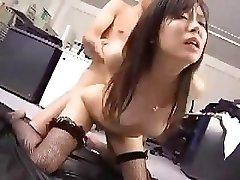 Japanese employee works her boss for a lil after sex reward