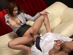 Geweldige Japanse hoer in Exotische Secretaris, Massage JAV clip