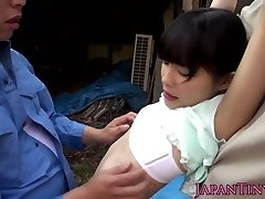 Tiny asian outdoors fingered