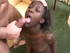 ebony teen enjoy 3 cocks