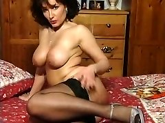 Hot Brunette Huge-chested Milf Teasing in various garments V SEXY!