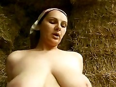 Horny farm worker leads young milkmaid to the loft barn and fucks her there