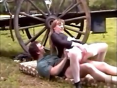 French maid in pantyhose fucks on a farm with ample cumshot
