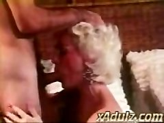 Retro Grey Haired Grandmother Gives Voluptuous Deepthroat and Tit Job