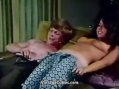 Young Couple Drills at House Party (1970s Vintage)
