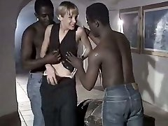 Milky whore wifey Rebeca gives eager blowjob to a duo of big black dudes