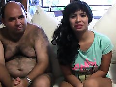 Sexy latina eats cock while pussy pounded