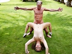 Two Grandpas plumb a blonde hair youthfull damsel and lick her twat
